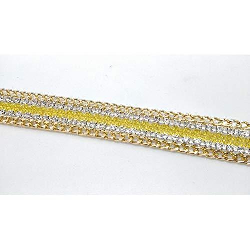 Vlecht thermo-lijm Swarovski zilver ketting en goud 50 cm hoog 15 mm Oro