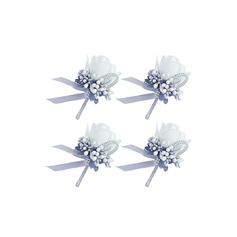 silk flower arrangements baby plum 4 pcs wedding boutonnieres man suit decoration silk white rose flower bouquet and boutonniere set with pin and clip in back for bridegroom groomsman flowers accessories