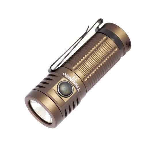 ThruNite T1 1500 Lumen Compact Rechargeable EDC Flashlight Side-Switch Mini Light with CREE XHP50 LED, Stepless Dimming, Magnetic Tailcap, Customized 18350 Battery Included, Desert Tan-CW