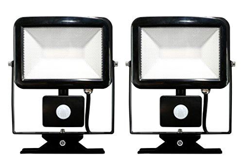 Electraline 92303par 2x Proyector Foco Slim de exterior, IP44a LED con sensor...