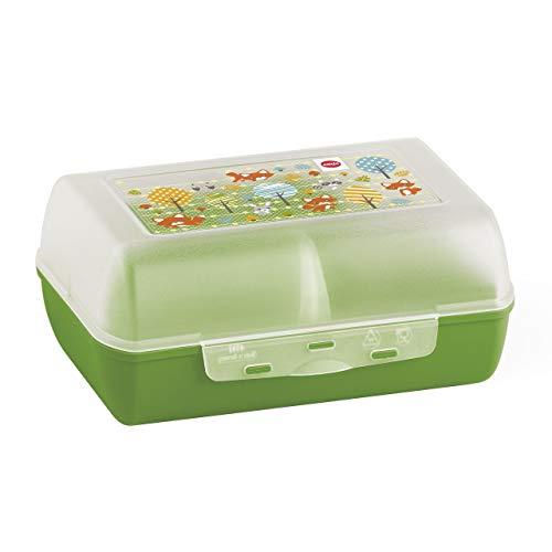 Emsa 515698 Brotdose für Kinder, Herausnehmbare Trennwand, Fuchsmotiv, Grün, Variabolo Fuchs
