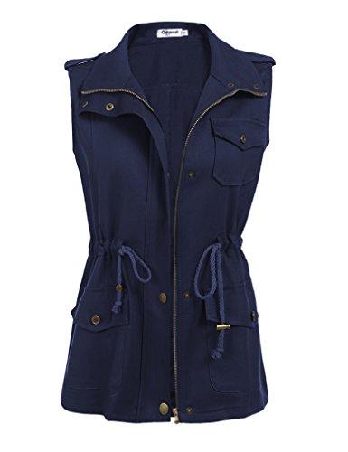 Qearal Women's Anorak Military Utility Jacket Vest w/Drawstring Plus Size(XXL, Navy Blue)