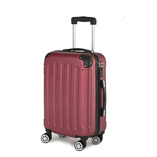 Koffer Kofferset Trolley Hartschale Reisekoffer 4 Rollen A13 M-L-XL-Set (Weinrot, XL)