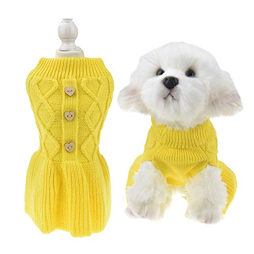 MuYaoPet Classic Dog Sweater for Cold Winter Dog Princess Dress Knitted Clothes for Dachshund French Bulldog Corgi (XL, Yellow)