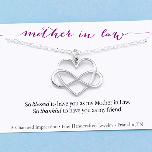 Mother In Law Gift • Infinity Heart Necklace • Sterling Silver •...