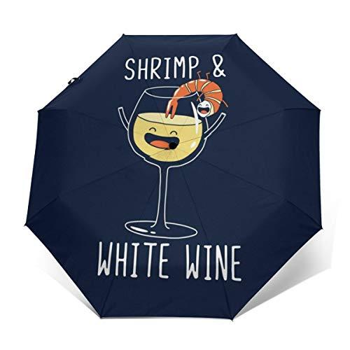 Faltbarer Regenschirm mit Garnelen und Weißwein, Winddicht, kompakt, automatisch, faltbar, Reise-Sonnenschirm