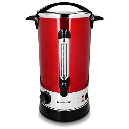 Navaris Hervidor de agua eléctrico de 10L con grifo - Dispensador de bebidas calientes con termostato - Olla eléctrica para té café y vino - rojo
