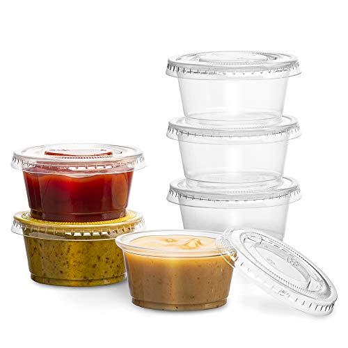 PlastiMade - Vasos desechables de plástico transparente con tapas, vasos de condimentos desechables, vasos de salsa, dip, vasos de suflé y vasos de gelatina con tapas, gran...