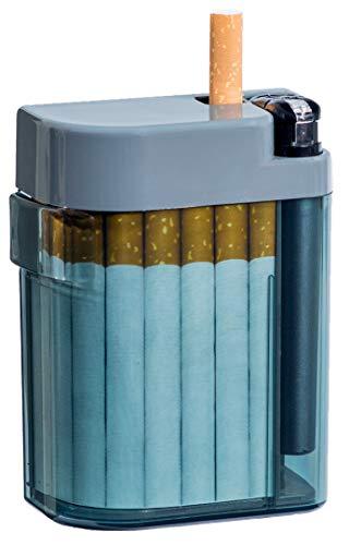 Unbekannt Magic Smoking Box, Zigarettenetui,Cigarret Box,Kippenbox,inkl. Feuerzeug, Farben, rot, orange, blau, Zigarettenbox, extrem stabil, mit Feuerzeug, mechanische Ausgabe der Zigarette (grau)