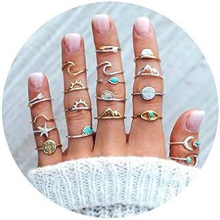 طقم خواتم اصبع من 7 إلى 19 قطعة فضية نجمة القمر للنساء والفتيات عتيقة قابلة للتكديس للأصبع الأوسط