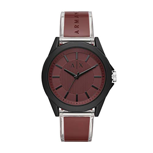 Armani Exchange - Reloj Casual para Hombre con Correa de Poliuretano Burdeos de Tres manecillas AX2641