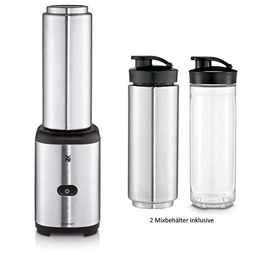 WMF Kult X Mix & Go Keep Cool Mini Smoothie Maker mit 2 Mixbehälter, Shake Mixer, Blender elektrisch, 300 Watt, Thermoflasche, Kunststoff-Flasche, 600ml, edelstahl matt
