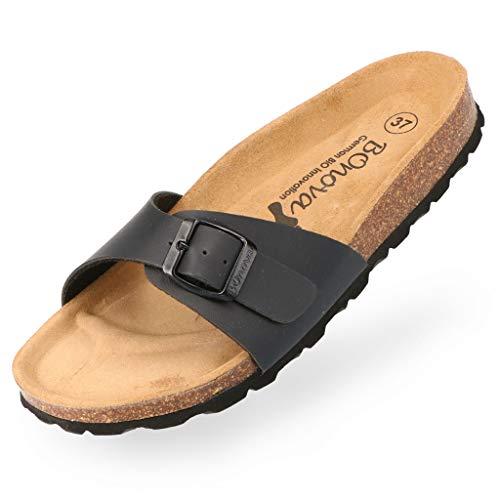 BOnova Damen Pantoletten Teneriffa in Bonoflor schwarz 38, modischer Einriemer mit Korkfußbett - komfortable Sandalen zum Wohlfühlen - hergestellt in der EU