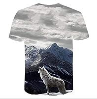 メンズサマートップTシャツシャツカジュアル半袖TシャツユニセックスファッションTシャツ3Dプリントアニマル半袖,A-5XL