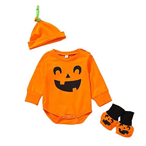 BIBOKAOKE Conjunto de pelele para niños y niñas, pelele para cosplay, Halloween, disfraz de calabaza, mono con gorro para bebé, niño, pelele + gorro + zapatos