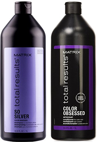 Matrix Total Results So Silver - Champú y acondicionador de pelo Color Obsessed, antioxidante, 1 litro cada uno.