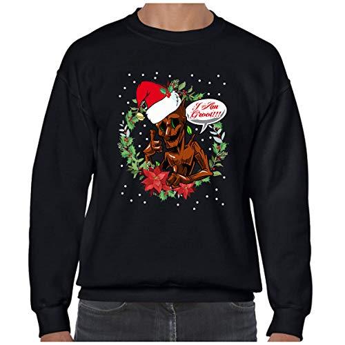 Ugly Christmas Jumper Day Marvel Groot Xmas Tree Superhero Inspired Fun Santa Xmas Gifts (M) Black