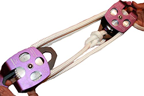 Abutilon Twin Sheave Block and Tackle 7500Lb Pulley System 100 Feet 1/2 Double Braid Rope