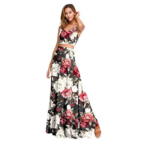 aihihe 2 Piece Dresses for Women Party Night Sexy V Neck Boho Floral Printed Sleeveless Spaghetti Straps Maxi Dress