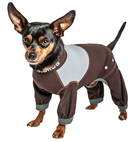 Dog Helios 'Tail Runner' Lightweight 4-Way-Stretch Breathable Full Bodied Performance Dog Track Suit, Medium, Brown