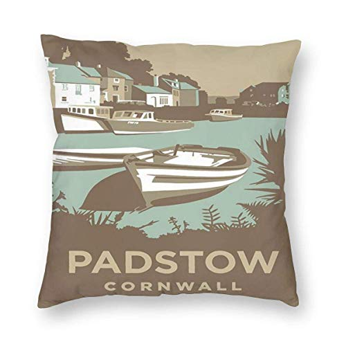 Nat Abra Retro Style Travel Padstow Cornwall City Art Posters Throw Pillow Home Decor Couch Cushion Case Pillow Covers Pillowslip Cushion Cases with Zipper Pillow Case