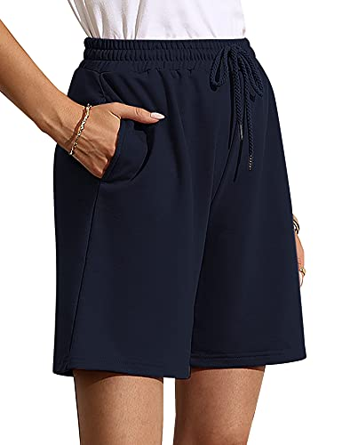 Quenteen Women's Casual Cotton Elastic Waist Knee Length Bermuda Shorts with Drawstring Navy Blue X-Large