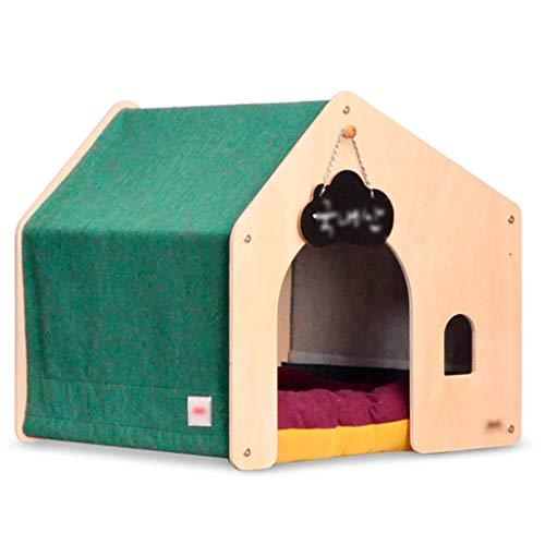 JOYZD Kennels Hond Huizen Katten Kooien Houten hondenhok kat nest, huisdier kennel vier seizoenen beschikbaar hond huis hond villa, binnen en buiten huisdier benodigdheden hondenhok, 62*62*62cm, Groen