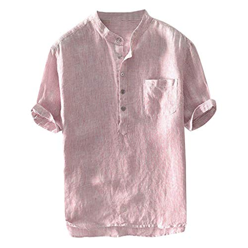 TUDUZ Camisetas Hombre Manga Corta Camisas de Algodón y Lino a Rayas Botón con Bolsillo Superior Top Ropa de Cuello V (Rojo XL)