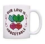 N\A egalos con Cita Divertida Our Love Is Unbeetable Taza Taza de Juego de Remolacha Taza de café de San Valentín Linda Taza de té Blanca