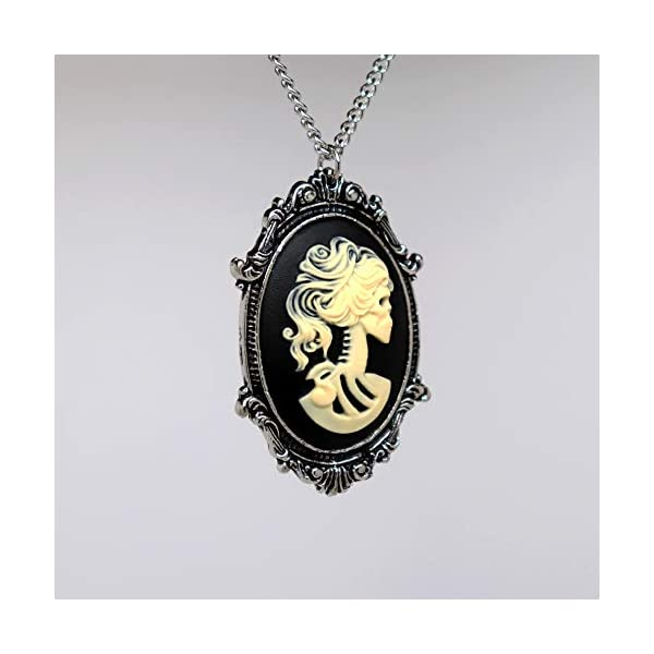 Gothic Lolita Skull Cameo in Pewter Frame Pendant Necklace 5
