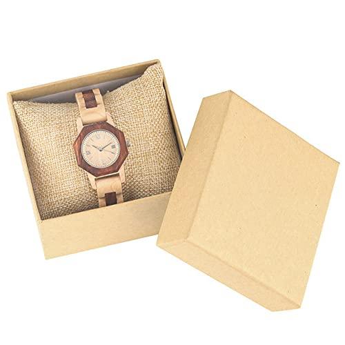 CAIDAI&YL Reloj Creativo de Madera Completa para Mujer Reloj de Pulsera con Brazalete de Madera de Cuarzo para Mujer Cierre Plegable Números Romanos Dial Relojes Femeninos, Modelo 2 con Caja