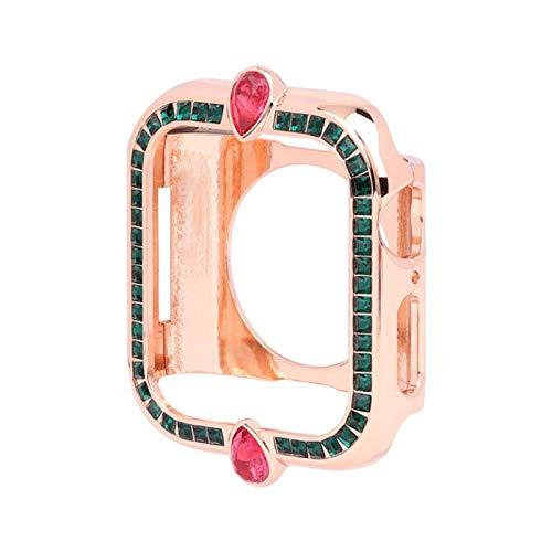 Cubierta de Moda Cuadrada de Diamantes para Mujer para Apple Watch Serie 6 SE / 5/4/3/2 Caja Bling Bling de Acero para iWatch 40 / 44MM 42 / 38MM Shell