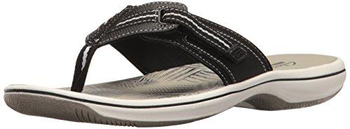 Clarks Women#039s Brinkley Jazz Flip Flop Black Synthetic 8 M US