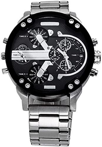 Qiyifang Hombre Reloj con Personalidad Sphere Tendencia Reloj Reloj de Cuarzo con Banda portátil de Acero Inoxidable-GRAMO