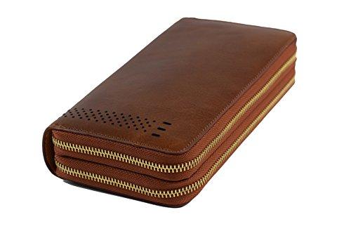 Red Dusk * Braune Geldbörse [extra groß] Echtleder Vintage Beutel Clutch mit Sorgfalt aus Echtleder handgefertigt