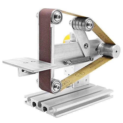 Huanyu Mini Belt Sander Micro Desktop Grinder Electric DIY Sand Mill with 360W-24V-15A DC Motor Power Supply (Adjustable speed, Belt width 30mm)