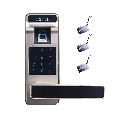 BEBASIA Keyless Entry Door Lock, Smart Door Lock, Keyless Door Lock, Fingerprint Door Lock, Keypad Entry Door Lock, Passcode Door Lock, Digital Door Lock,Biometric Door Lock (Silver)