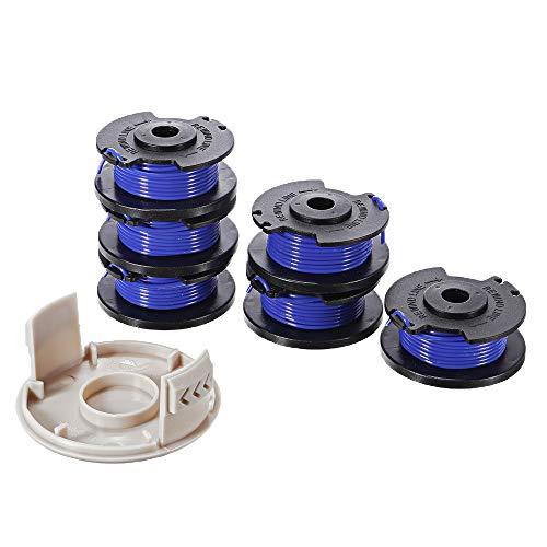 ZOYOSI Bobina de repuesto de 6 + 1 cuerda para Ryobi One+ AC14RL3A 18 V 24 V 40 V 3,4 m 0,065 pulgadas de alimentación automática sin cable con tapa AC14HCA cubre piezas