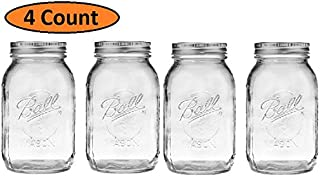 4 Pcs Regular Mouth 32-Ounces Mason Jar with Lids and Bands Clear