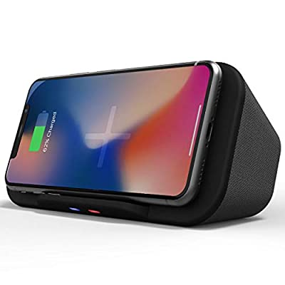 Portable Bluetooth Speaker Dock with Wireless QI Charger Powerbank Phone Stand - Updated 2020 Model with Improved USB Connector by Philex Electronic Ltd
