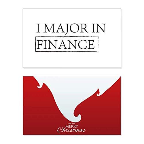 Tarjeta de Navidad con texto en inglés «I Major In Finance», con mensaje vintage