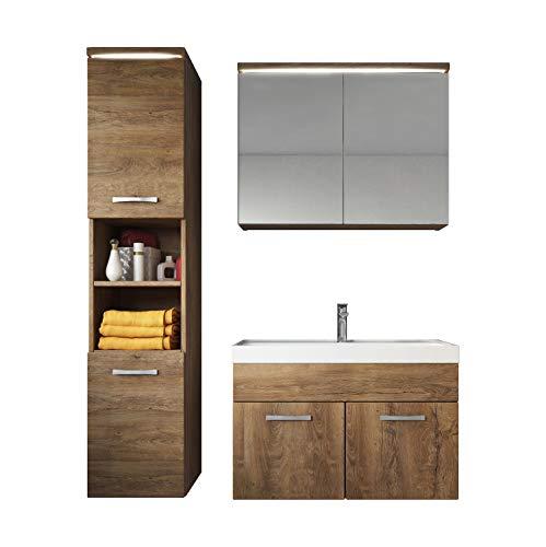 Badezimmer Badmöbel Set Paso LED 80 cm Waschbecken Lefkas (Braun) - Unterschrank Hochschrank Waschbecken Spiegelschrank