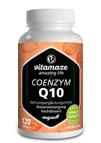 Vitamaze Coenzyme Q10 200 mg per Vegan Capsule, 120 Capsules with 98% Ubiquinone for 4 Months, Best Bioavailability, German Quality, Natural Supplement without Additives