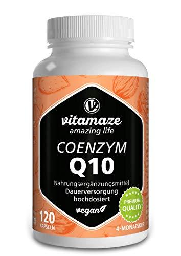 Vitamaze® Coenzima Q10 200 mg per Capsula Vegano, 120 Capsule per 4 Mesi, Ubichinone con la Migliore Biodisponibilità, Integratore Alimentare senza Additivi non Necessari, Qualità Tedesca