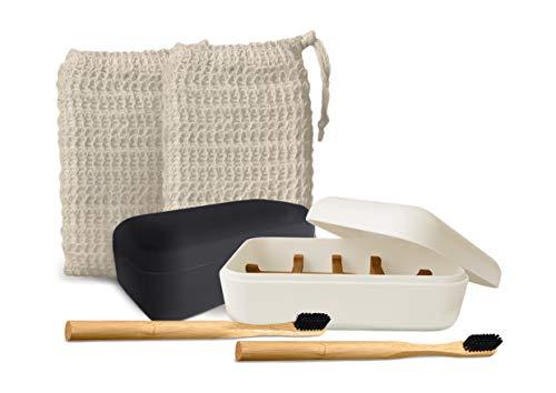EDARTO® 2 Seifenschalen nachhaltig, umweltfreundlich, wiederverschließbar aus Bambus mit Abtropfwanne und Deckel + 2 Bambus Zahnbürsten + 2 x Seifensäckchen 100% natürlicher Sisal für Körper-Peeling