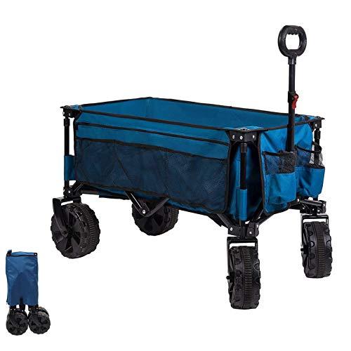 Timber Ridge Bollerwagen faltbar Strandwagen Großes Rad Handwagen Faltwagen Transportwagen Gartenwagen für alle Gelände mit Seitentasche Getränkehalter blau