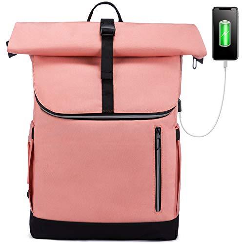 LOVEVOOK Damen Rucksack Rolltop, Wasserdicht Laptop Rucksäcke Backpack 17,3 Zoll, Groß Schulrucksack Tagesrucksack Wanderrucksack mit USB Ladeanschluss für Schule Uni Studenten, Rosa