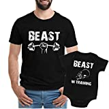 Texas Tees Workout Bodysuit, Beast in Training Tee, Baby Gift for New Dad,Beast & Beast in Training - Black,Mens (Large) & 6-12 Month