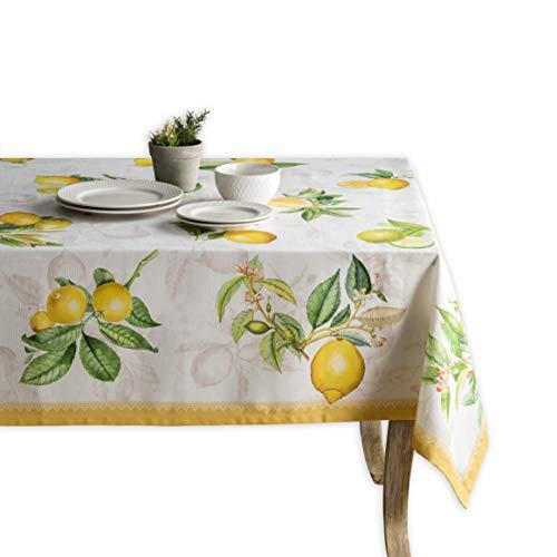 Maison d' Hermine Limoncello 100% Baumwolle Tischdecke für Küche | Abendessen | Tischplatte | Dekoration Parteien | Hochzeiten | Frühling/Sommer (Rechteck, 140 cm x 180 cm)