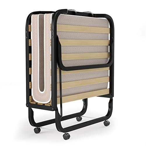 Giantex Rollaway Folding Bed with 4 Inch Mattress, Portable Foldable Guest Bed for Adults, Sturdy Metal Frame, Memory Foam Mattress, Folding Bed Cot Size, Made in Italy (Beige & Black)